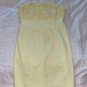 Lilly Pulitzer strapless yellow seersucker dress